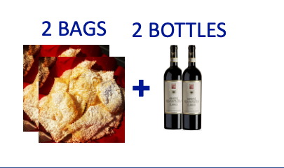 2 bags of handmade Chiacchiere + 2 bottles of AMARONE PIOVESOLE