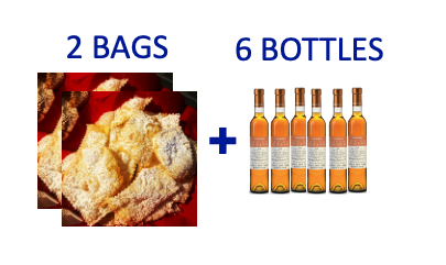 2 bags of handmade Chiacchiere + 6 bottles (0,375L) of SCIACCHETRÀ