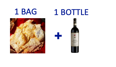 1 bag of handmade Chiacchiere + 1 bottle of AMARONE PIOVESOLE