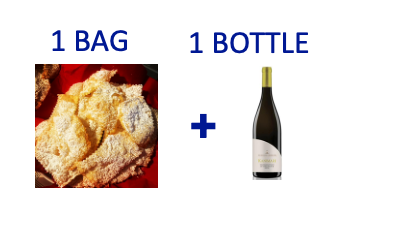 1 bag of handmade Chiacchiere + 1 bottle of KANIMARI Vermentino