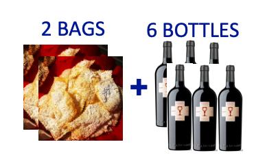 2 bags of handmade Chiacchiere + 6bottles of CUBARDI PRIMITIVO