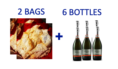 2 bags of handmade Chiacchiere + 6 bottles of CARTIZZE DOCG DRY