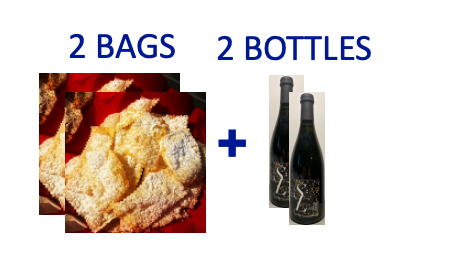2 bags of handmade Chiacchiere +2 bottles of SUR LIE