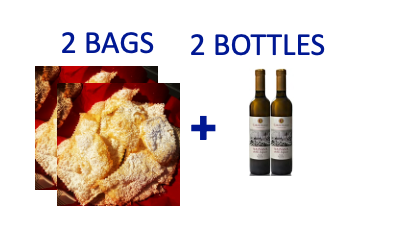 2 bags of handmade Chiacchiere + 2 bottles (0,5L) of MALVASIA PASSITO