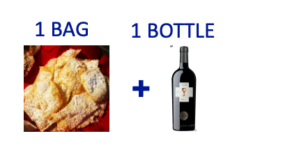 1 bag of handmade Chiacchiere + 1 bottle of ANTIERI SUSUMANIELLO