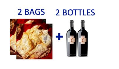 2 bags of handmade Chiacchiere + 2 bottles of CUBARDI PRIMITIVO