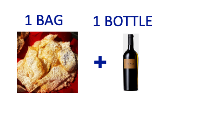 1 bag of handmade Chiacchiere + 1 bottle of ZUANI VIGNE
