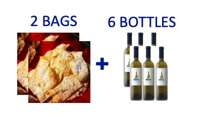 2 bags of handmade Chiacchiere + 6 bottles of INFATATA Malvasia