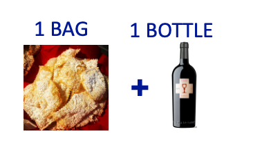1 bag of handmade Chiacchiere + 1 bottle of CUBARDI PRIMITIVO