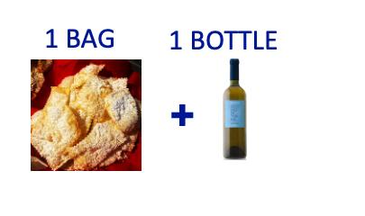 1 bag of handmade Chiacchiere + 1 bottle of OCCHIO DI TERRA Malvasia