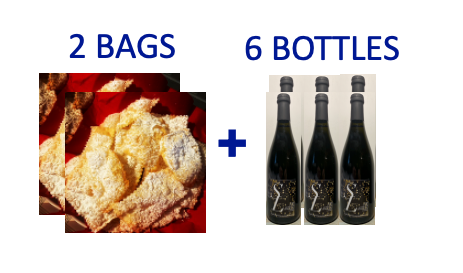 2 bags of handmade Chiacchiere +6 bottles of SUR LIE