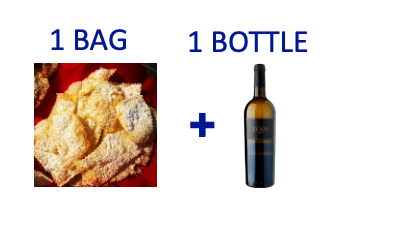1 bag of handmade Chiacchiere + 1 bottle of ZUANI ZUANI