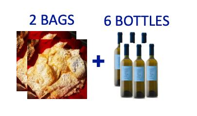 2 bags of handmade Chiacchiere + 6 bottles of OCCHIO DI TERRA Malvasia