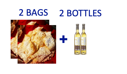 2 bags of handmade Chiacchiere + 2 bottles (0,5L) of MOSCATO DI SORSO SENN