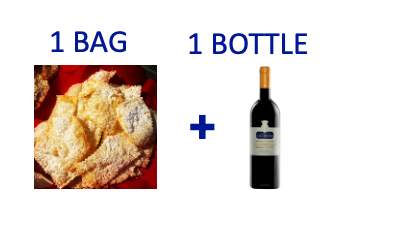 1 bag of handmade Chiacchiere + 1 bottle of FONTEMERLANO
