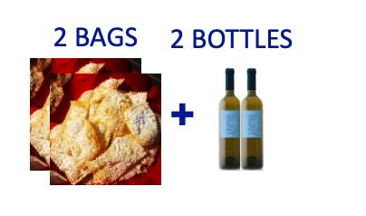 2 bags of handmade Chiacchiere + 2 bottles of OCCHIO DI TERRA Malvasia