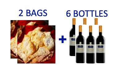 2 bags of handmade Chiacchiere + 6 bottles of FONTEMERLANO