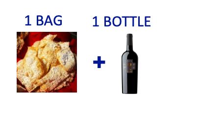 1 bag of handmade Chiacchiere + 1 bottle of NERIO RISERVA