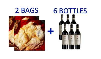 2 bags of handmade Chiacchiere + 6 bottles of AMARONE PIOVESOLE
