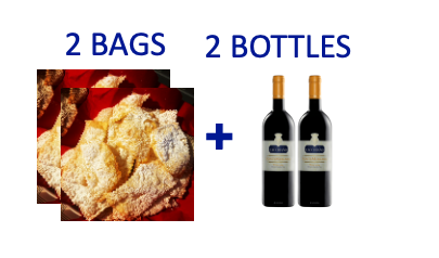 2 bags of handmade Chiacchiere + 2 bottles of FONTEMERLANO