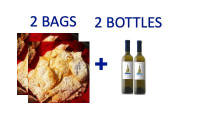 2 bags of handmade Chiacchiere + 2 bottles of INFATATA Malvasia