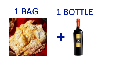 1 bag of handmade Chiacchiere + 1 bottle of LUPO BIANCO