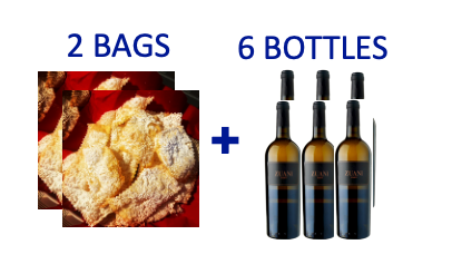 2 bags of handmade Chiacchiere + 6 bottles of ZUANI ZUANI