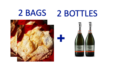 2 bags of handmade Chiacchiere + 2 bottles of CARTIZZE DOCG DRY