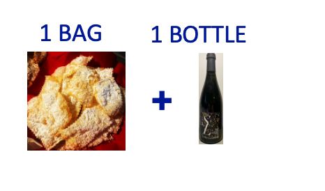 1 bag of handmade Chiacchiere + 1 bottle of SUR LIE