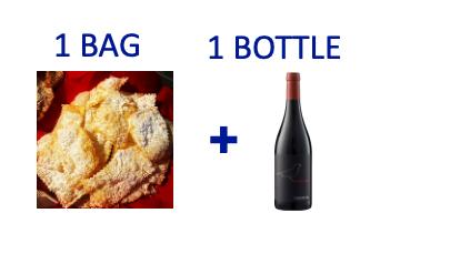 1 bag of handmade Chiacchiere + 1 bottle of MERLA DELLA MINIERA