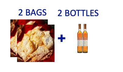 2 bags of handmade Chiacchiere + 2 bottles (0,375L) of SCIACCHETRÀ