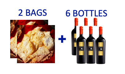 2 bags of handmade Chiacchiere + 6 bottles of LUPO BIANCO