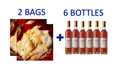 2 bags of handmade Chiacchiere + 6 bottles (0,5L) of VINSANTO