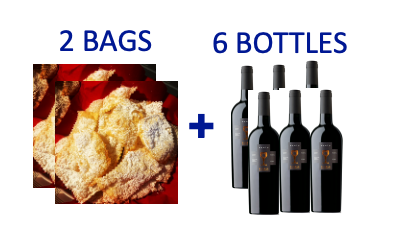2 bags of handmade Chiacchiere + 6 bottles of NERIO RISERVA