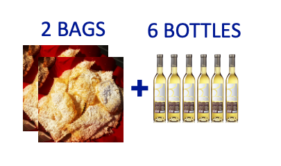 2 bags of handmade Chiacchiere + 6 bottles (0,5L) of MOSCATO DI SORSO SE