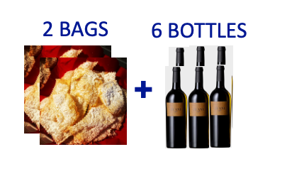 2 bags of handmade Chiacchiere +6 bottles of ZUANI VIGNE
