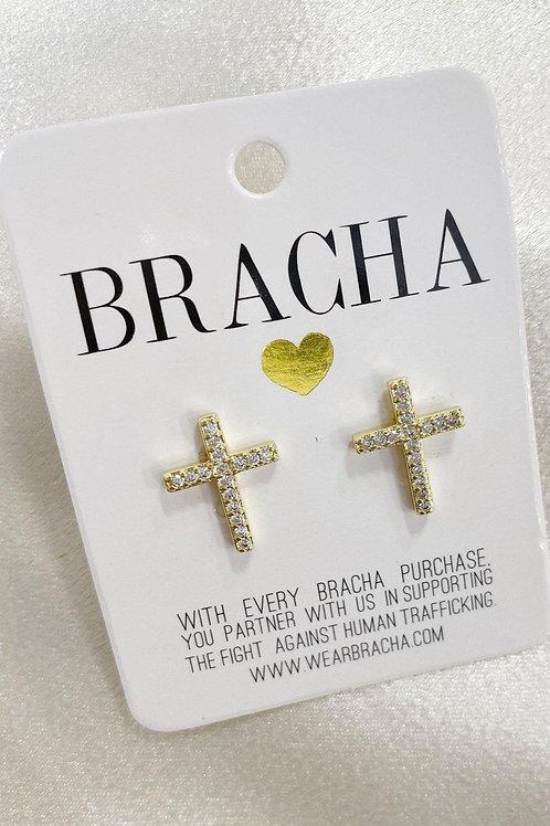 Bracha Abundant Cross Studs