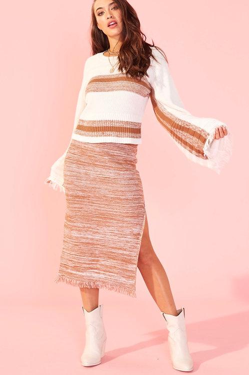 MinkPink Yvonne Fringe Midi Skirt