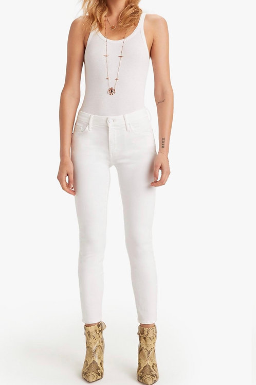 Mother Looker Crop White Jean