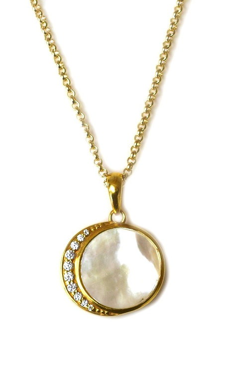 L.A. Kaiser Mother of Pearl and Diamond Moon Phase Necklace