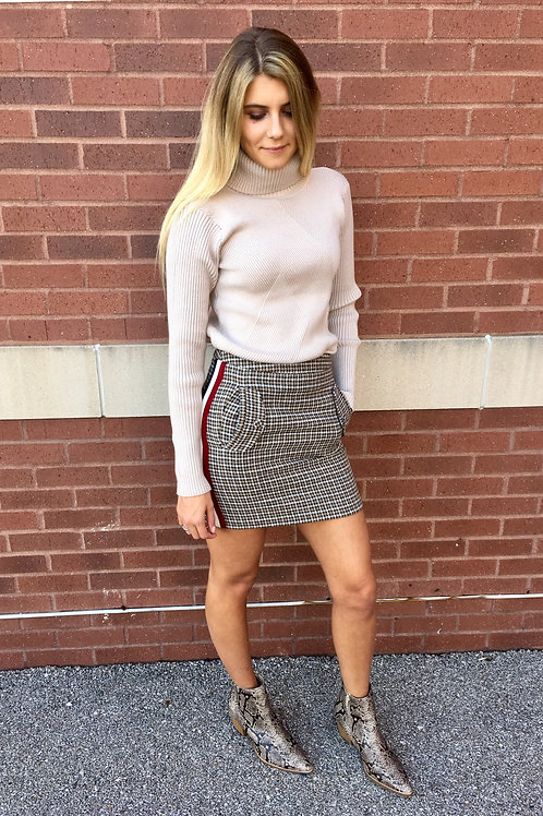 J.O.A. Varsity Side Stripe Mini Skirt