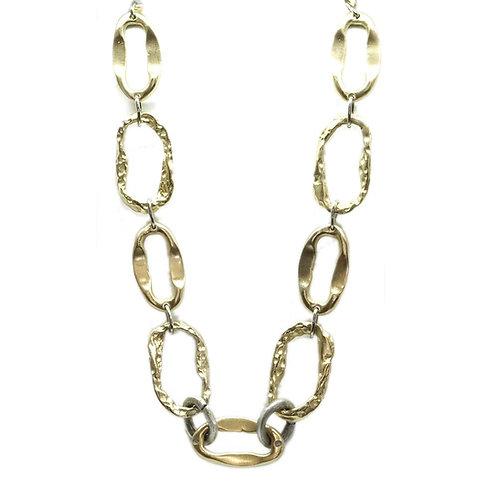 Tat2 Gold Short Hammered Link Necklace
