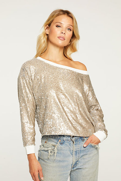 Chaser Terry Sequin Cropped Pullover