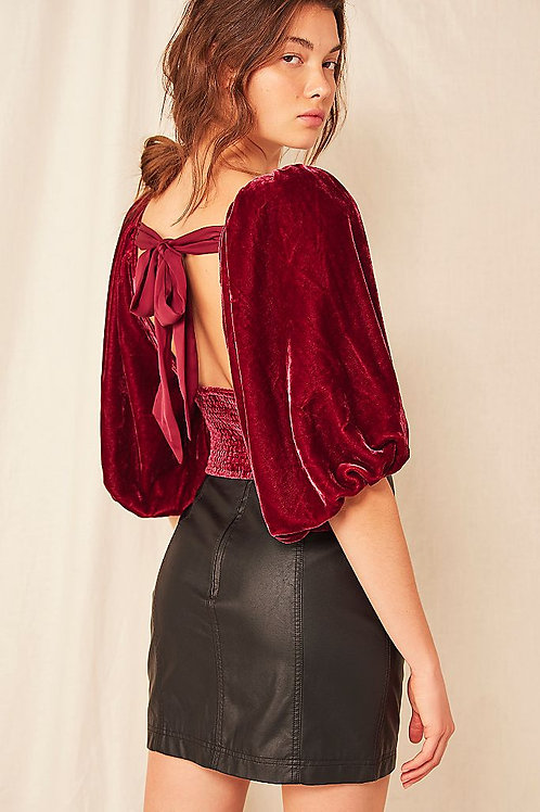 Free People Marie Velvet Open Back Top