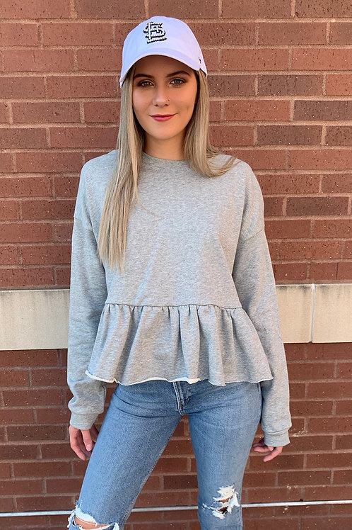 Casual Endeavors Grey Ruffle Top