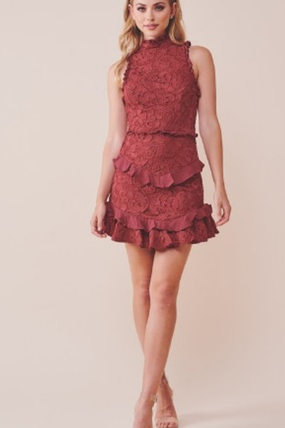 La Flame Wine Lace Dress