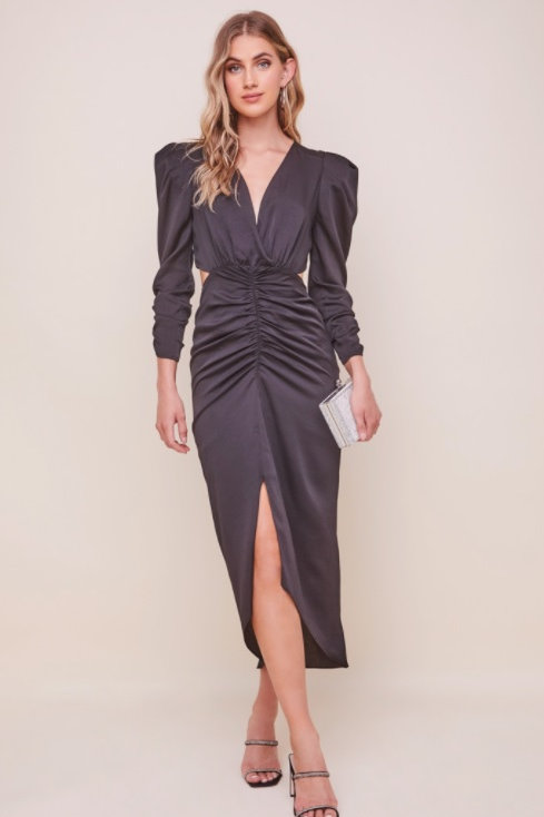 ASTR Jayla Ruched Cutout Dress