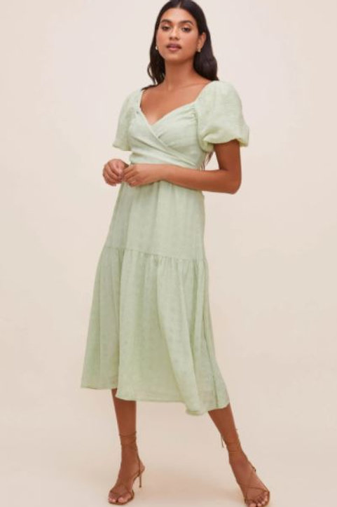 ASTR Sonnet Puff Sleeve Midi Dress