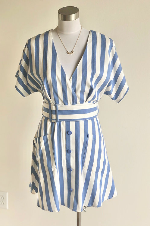 Moon River Button Front Tie Dress