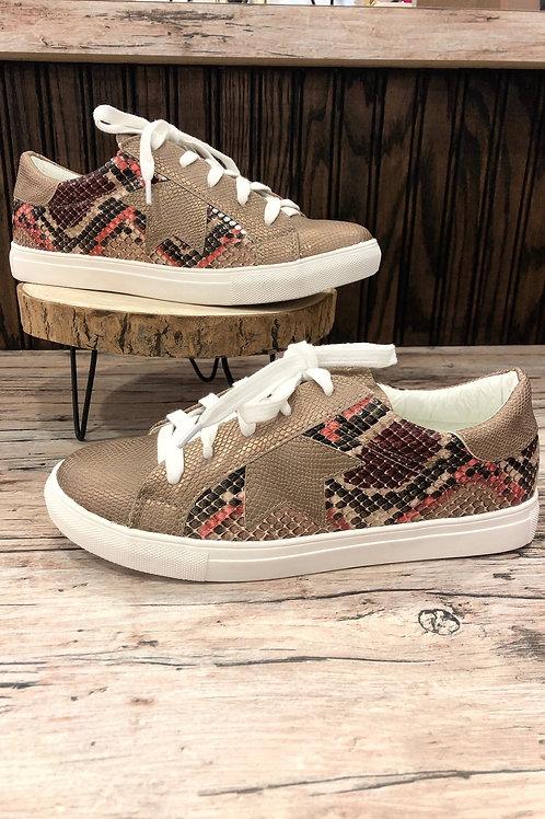 Good Fortune Beige Snakeskin Sneaker